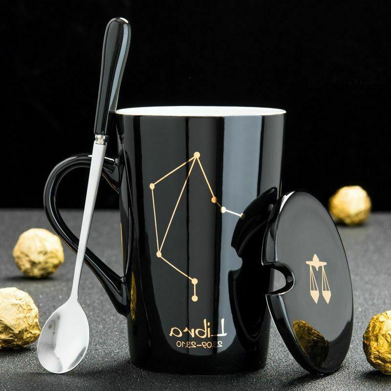 420ML Coffee Mug Spoon Lid Constellation Zodiac Pattern Cera