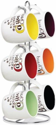 6 Coffee Mug Set w/ Stand Hanging Metal Rack Storage Ceramic