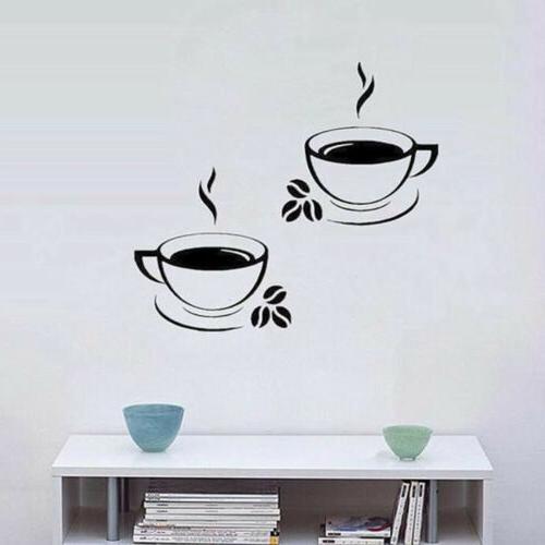 Beautiful Coffee Mug Tea Coffee Decal Stickers Restaurant Decor