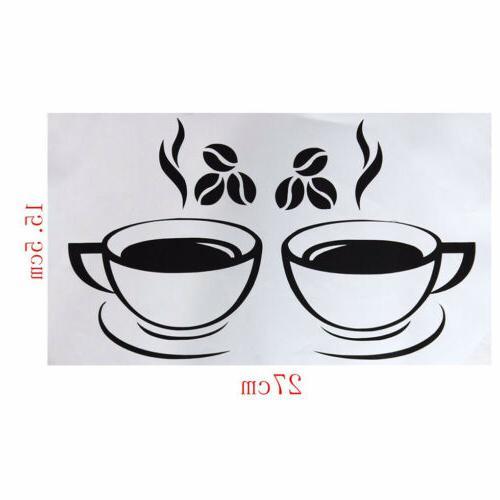 Beautiful Mug Tea Coffee Wall Stickers Kitchen Restaurant Decor