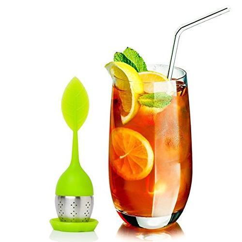 Bruntmor - Tea Infuser Drip Tray, Silicone, Green