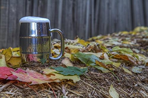 EcoVessel DOUBLE BARREL Wall Insulated Beer/Coffee Mug with - 16 - Silver Express
