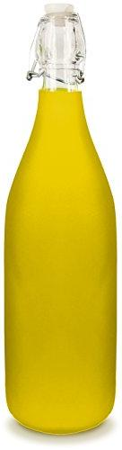Glass Water Bottle - Frosted Yellow Color - Holds 1 Liter/33