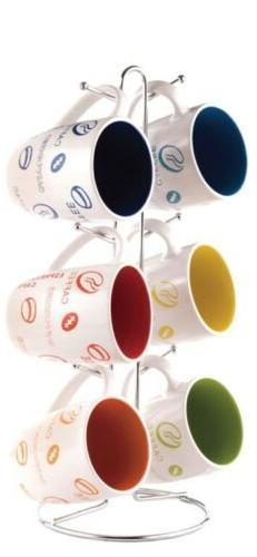 Home Basics MS30106 6-Piece Mug with Coffee Stand