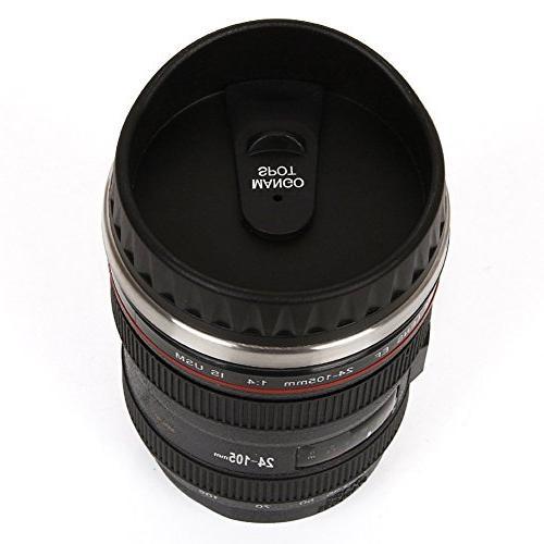 Mango Best Camera Lens Thermos Cup/ Mug or Black Thumb Lid