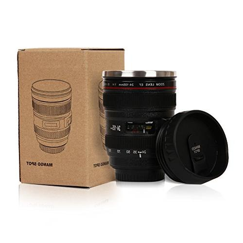 Mango Best Camera Lens Stainless Cup/ for or Tea, Thumb Lid