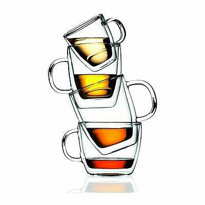 Bistro Mugs, Insulated Glass, Clear, Ounces Each (Set of 2