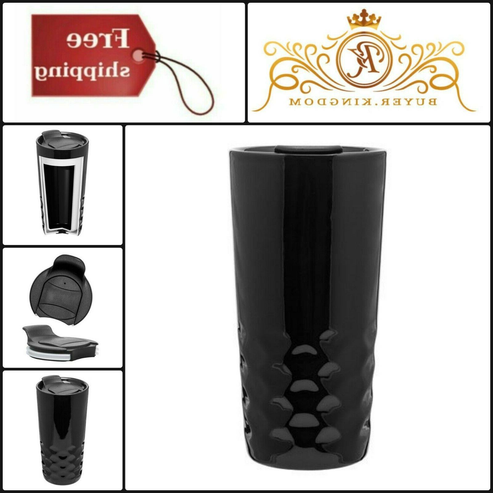 Black Texture Porcelain Double Wall Thermal Coffee Tumbler S