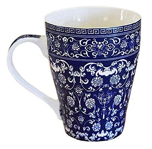 blue white porcelain coffee mug
