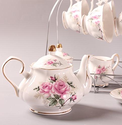 ufengke 15 Bone China Coffee Set, Ceramic Porcelain Cup Holder, Gift Pink