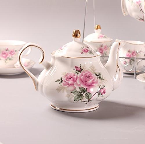 ufengke Bone China Set, Ceramic Porcelain Cup Set Metal Holder, Gift Pink