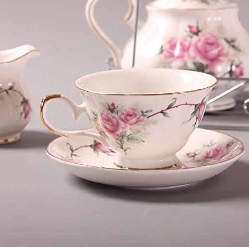 ufengke 15 Piece European Bone Set, Ceramic Cup Set Metal Holder, Tea Pink Camellia