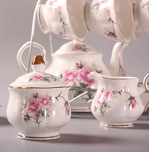 ufengke Bone China Set, Ceramic Cup Set Holder, Tea Sets, Pink
