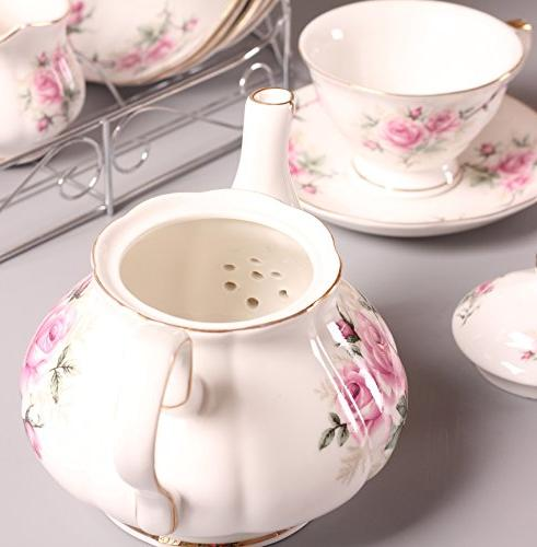 ufengke European Bone China cup Set, Cup Set With Metal Holder, Pink Camellia Painting