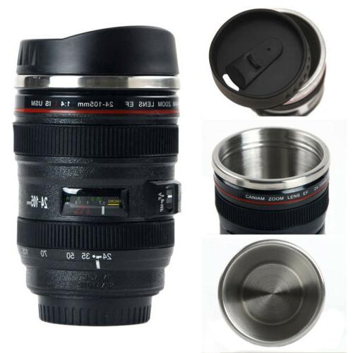 Camera Lens Cup 24-105 Coffee Travel Mug Stainless Steel Thermos Black/White