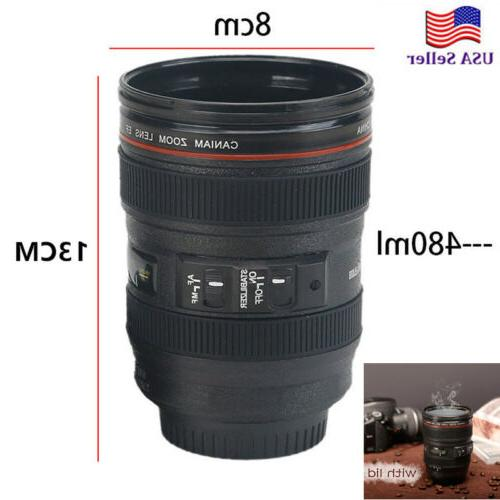 Cool Men's 24-105mm Lens Camera Cup Thermos Outdoor Travel C