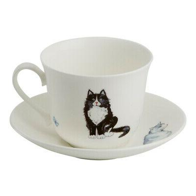 cats breakfast cup and saucer cat kittens
