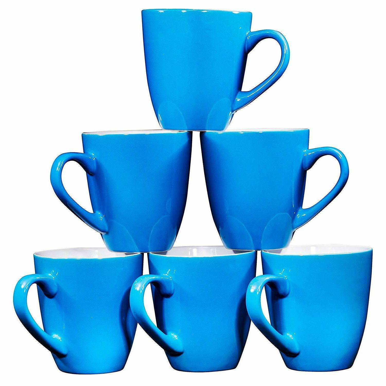 Bruntmor Ceramic Coffee Cups Mugs Set of 6 Large sized Tea C