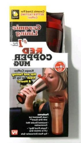 Ceramic Coffee Mug Red Copper Mug Ceramic Lined 16 oz. As Se
