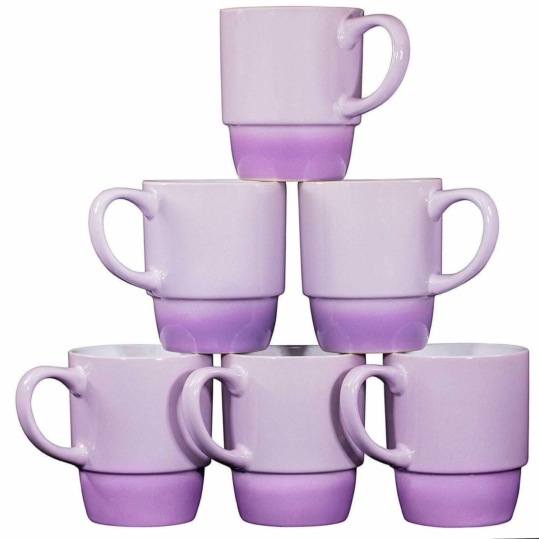 Bruntmor Ceramic Stacking Coffee Mug Tea Cup Set of 6 Gradie