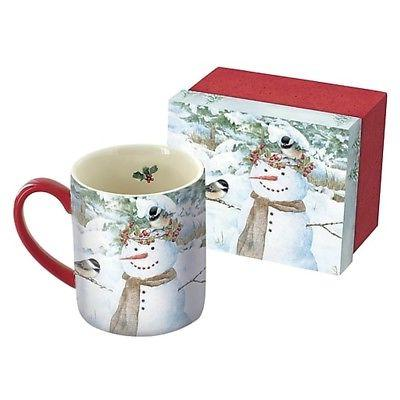chickadee snowman 14 oz mug coffee