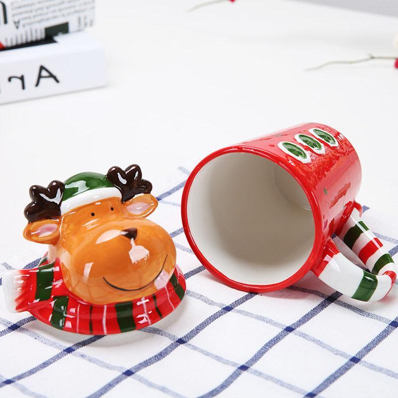 Christmas Ceramic Tea 350 Ml Funny Travel Coffee <font><b>Mug</b></font> Cute Tumbler Santa Snowman Elk Friends Gifts