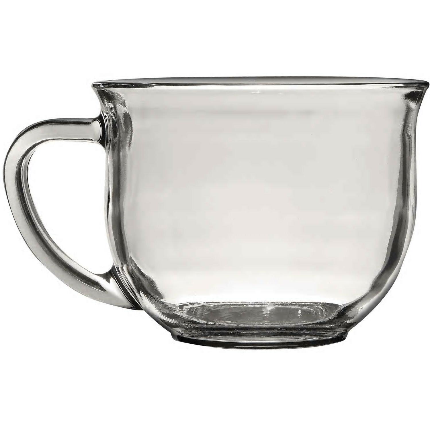 Clear Glass Coffee Mug, 18 oz