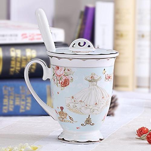 AWHOME Tea Cup Lid Spoon Coffee Mug 11oz Light Blue