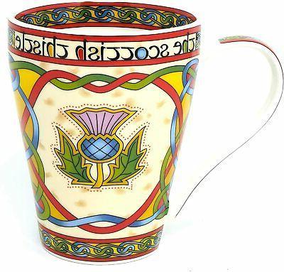 coffee or tea mug thistle celtic bone
