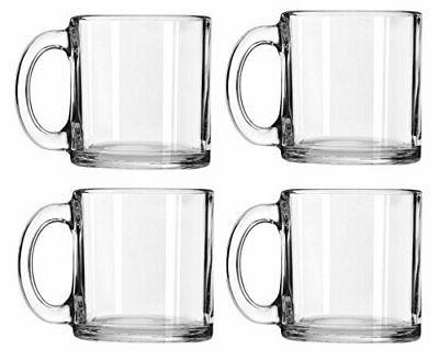 Coffee Mug Set of 4 Clear Glass Tea Chocolate Cups 16 Oz Dec