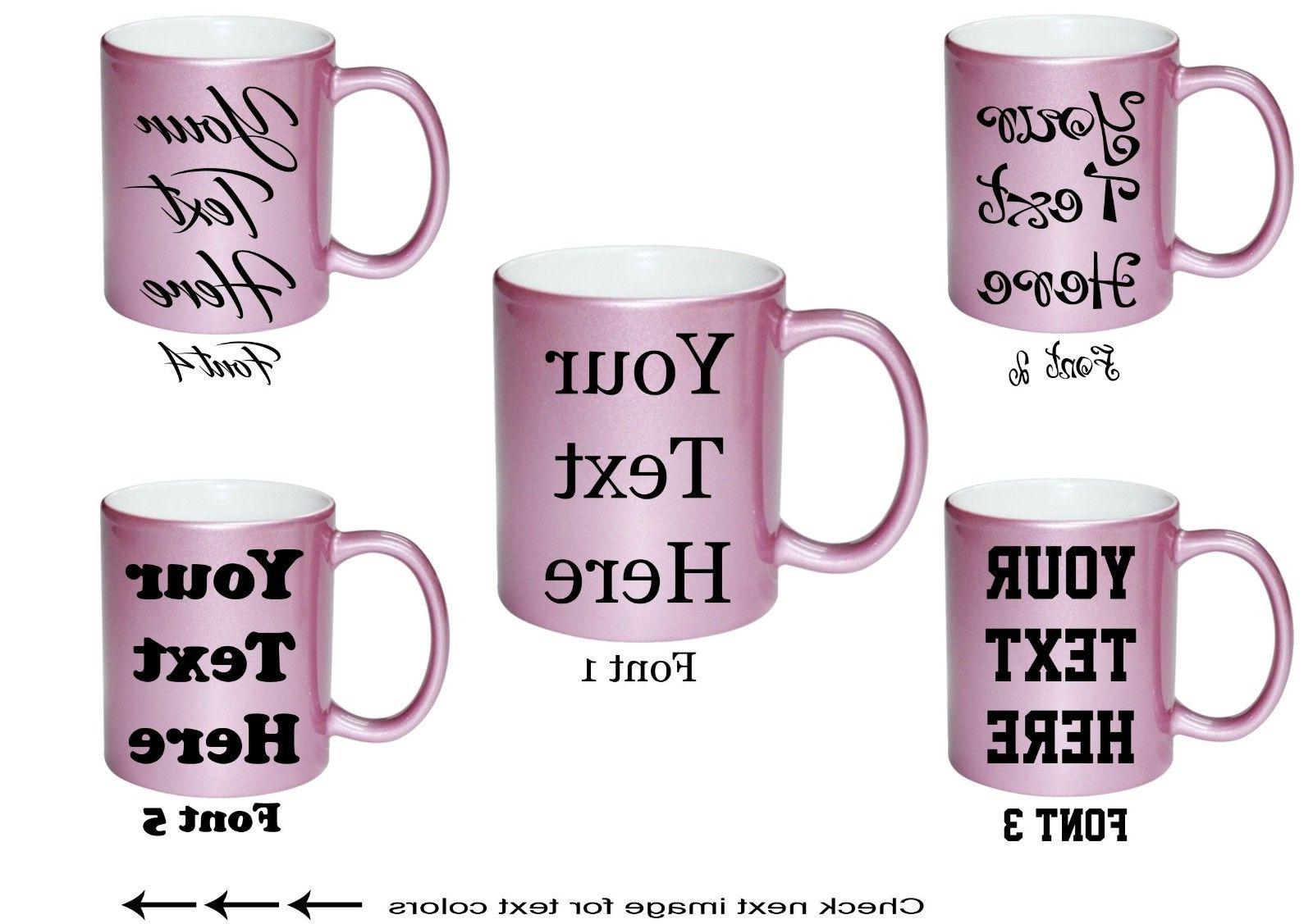 Custom Text on Mugs Personalized Ceramic Coffee SHIMMER PINK
