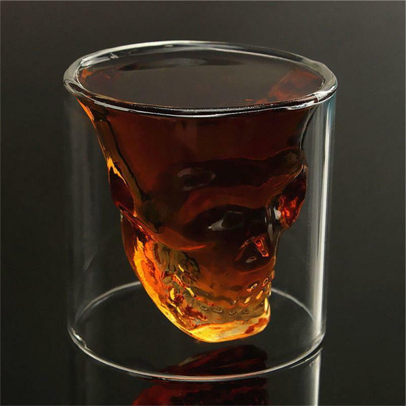 Doomed Skull Coffee Glass Cup Crystal Vodka Double Wall Whis