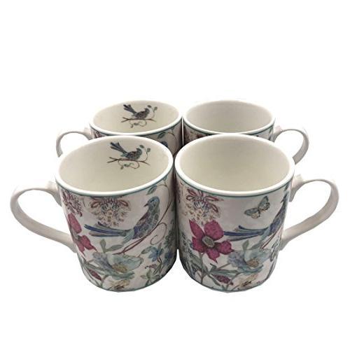 Lightahead Elegant Coffee Mug 4 cup Bird Design 8.5 oz each gift