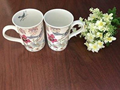 Two Mugs set Blue bird design oz cup attractive gift