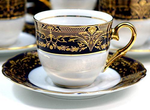 Euro 12-pc. Cup Cobalt Gold-plated China 6 Cups Saucers, Original Czech