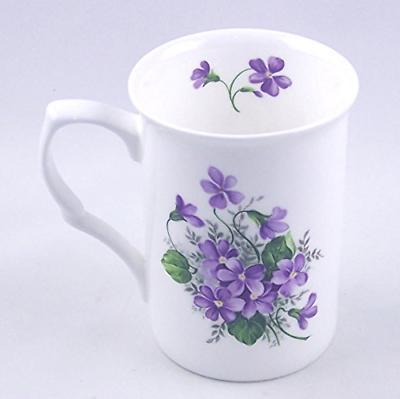 Fine English Bone China Mug - Wild Violet Spray - Adderley,