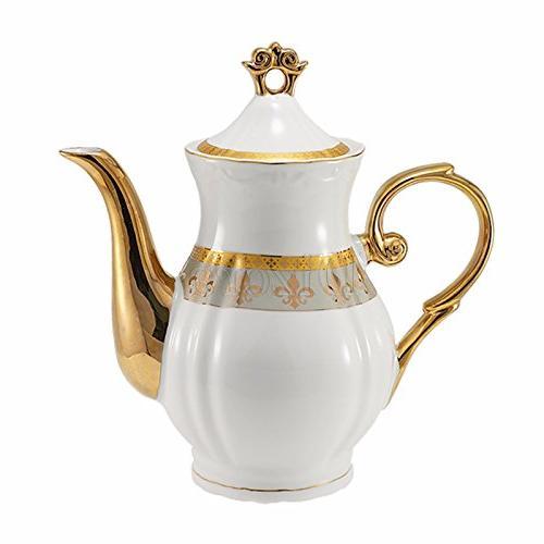 Euro 17-Pc. Fleur-de-Lis Tea Cup Coffee Premium 24K Gold-Plated, Complete
