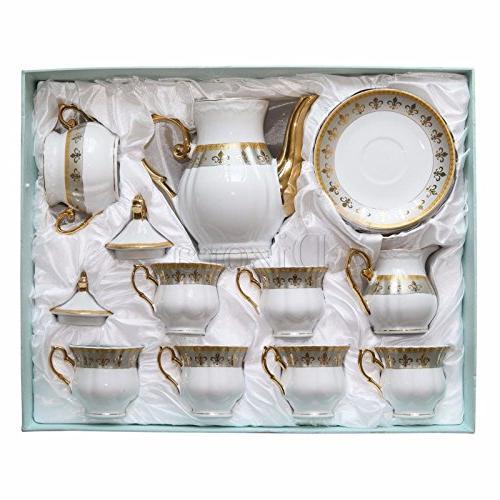 Euro 17-Pc. Tea Cup Coffee Premium Bone China, 24K 6, Original