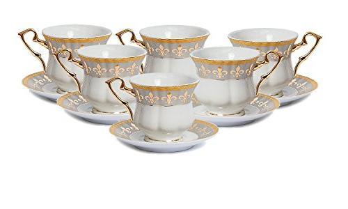 Euro Tea Cup Set, Premium China, Gold-Plated, Service 6, Original Czech