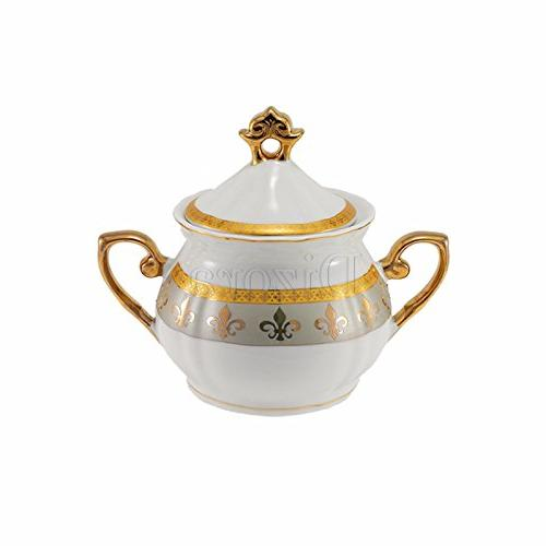 Euro 17-Pc. Fleur-de-Lis Tea Coffee Premium Bone Gold-Plated, 6, Tableware