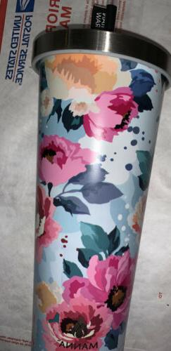 Manna Floral Chilly Tumbler Travel Mug With Straw Blue Pink