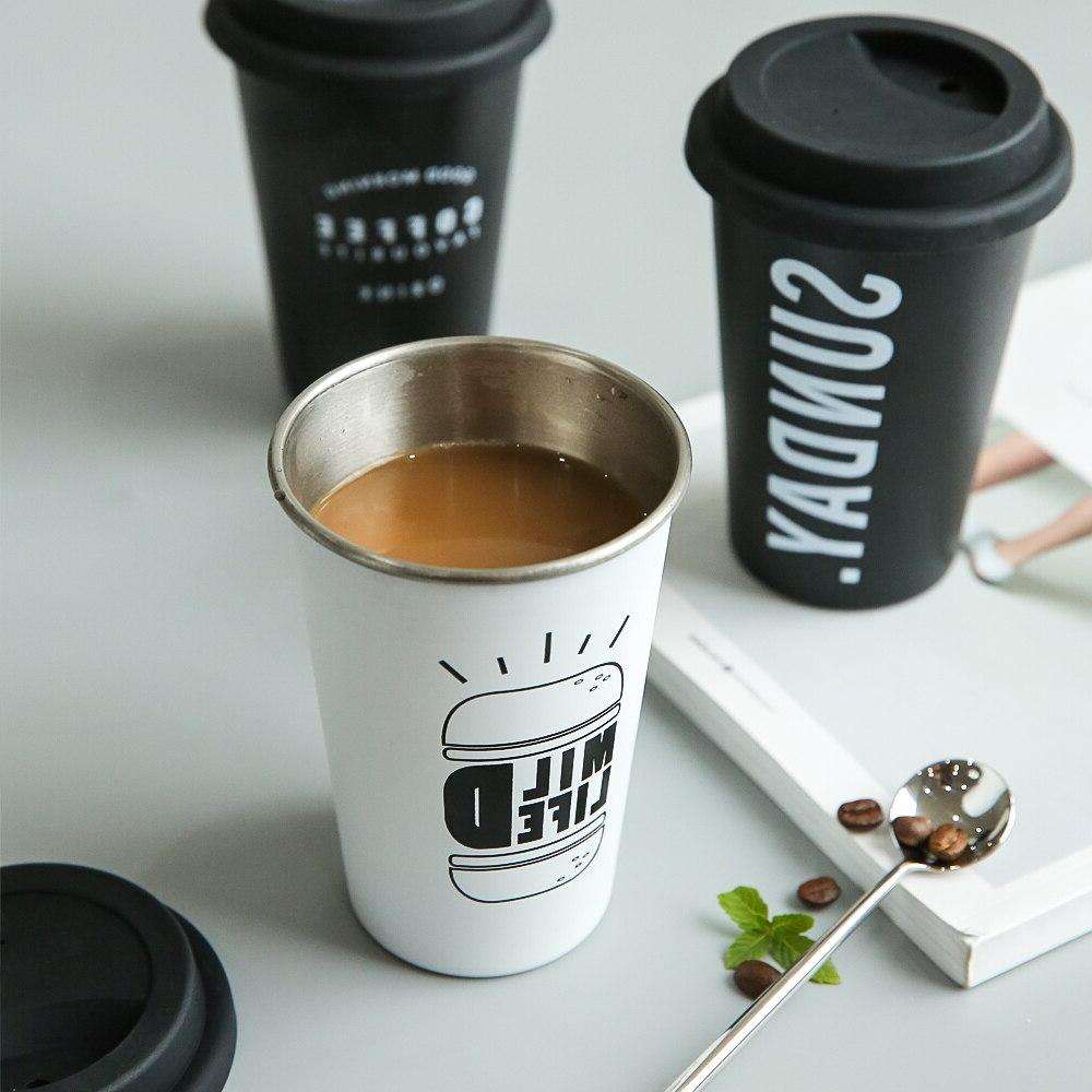 <font><b>Coffee</b></font> Thickened Steel <font><b>Mugs</b></font> Tea Cups Big Travel Camping With Cup Lid Straw
