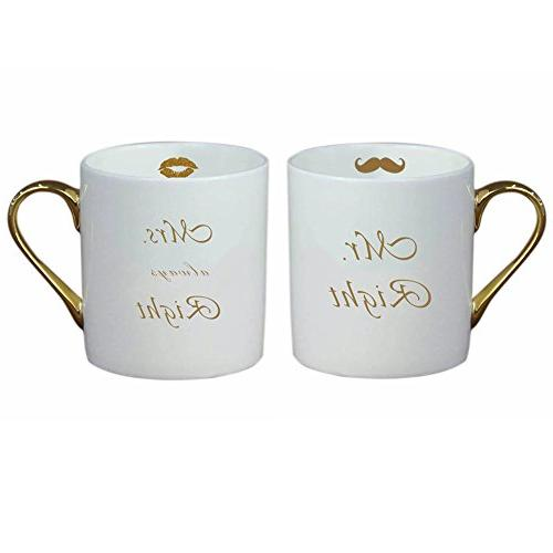 gold bone china couple mug
