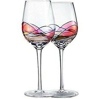 hand painted wine glasses crystal clear glassware