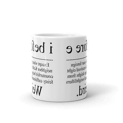 I Before E Weird Grammar Coffee Mug Microwave Safe