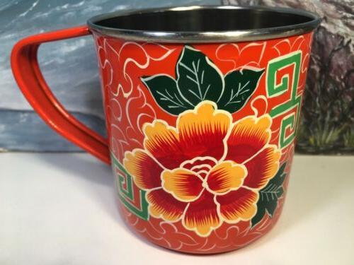 india coffee mug floral orange asian flower