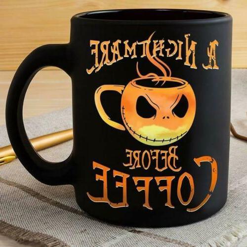 Jack Skellington A Nightmare Before Coffee Mug Black Ceramic
