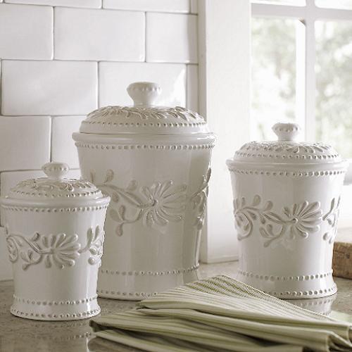 Ceramic Kitchen Canister Set White Ivory...
