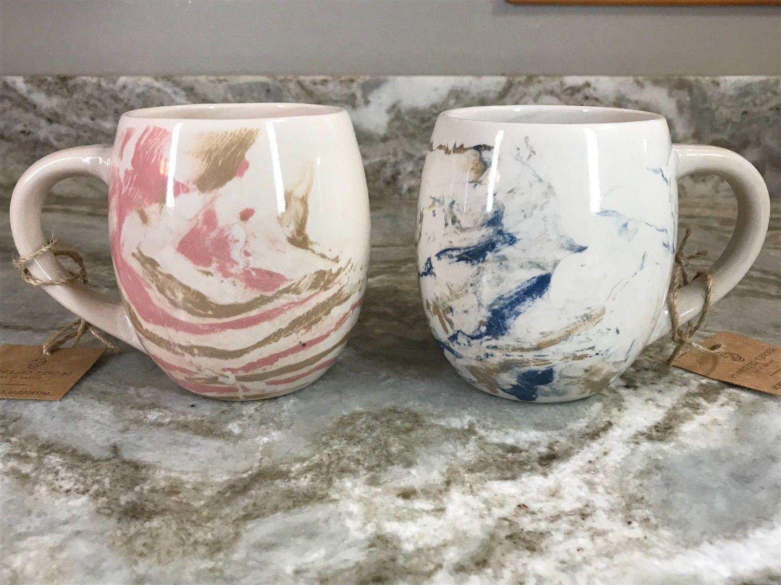 large coffee mug blue or pink swirl