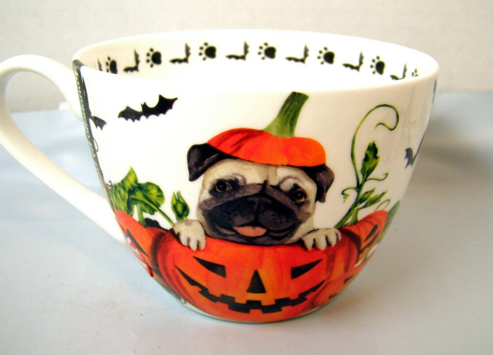 large halloween pumpkin pug dog coffee mug